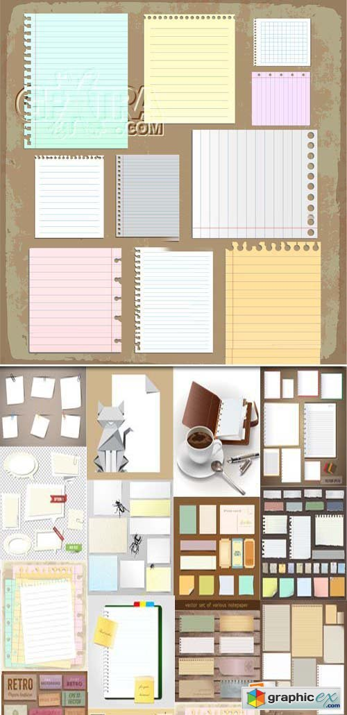 Paper Sheets, Lined Paper and Note Set 25xEPS