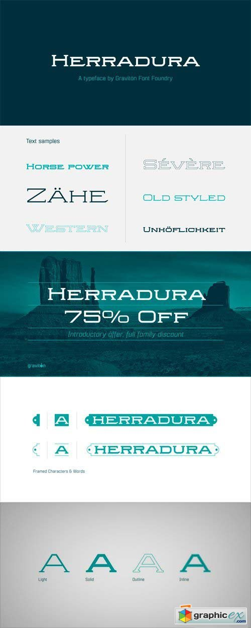 Herradura Font Family - 8 Fonts for $90
