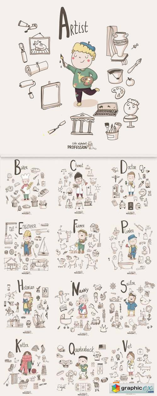 Stock Vector - Cute Alphabet - Professions