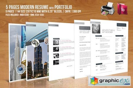 5 Pages Modern Resume with Portfolio 43827