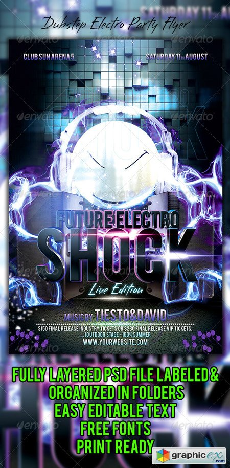 Dubstep Electro Party Flyer 5934390