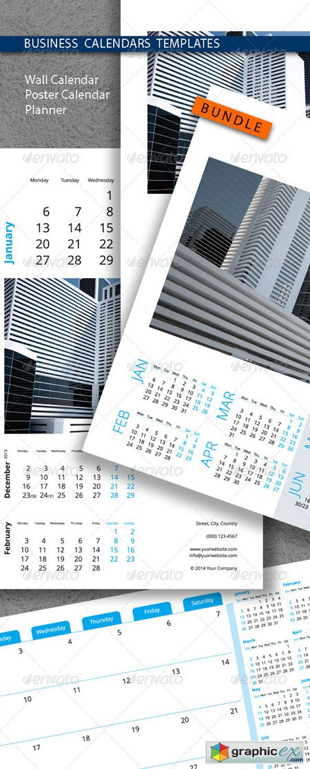 Business Calendars Templates Bundle