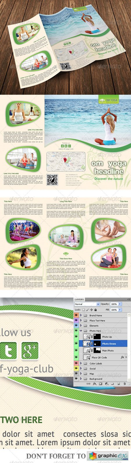 Yoga Trifold Brochure Template 06