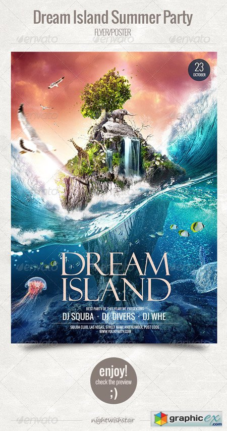 Dream Island Summer Party Flyer Poster