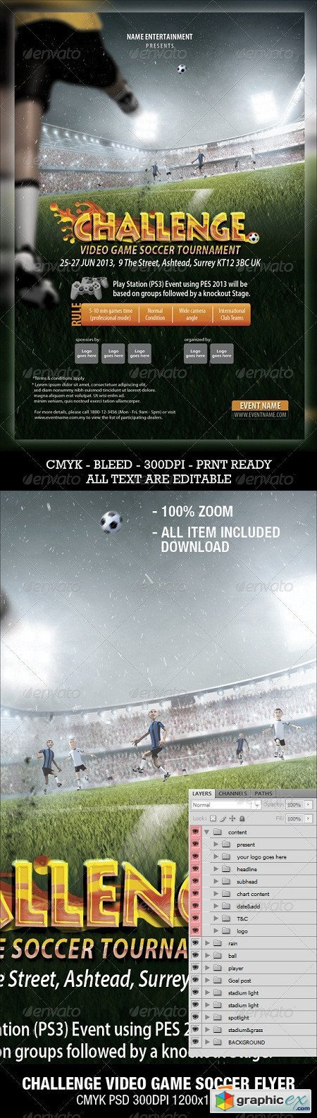 Soccer Video Game Flyer 3289145