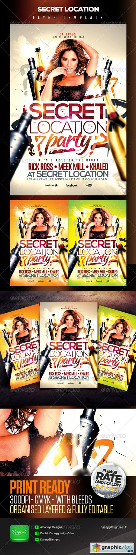 Secret Location Nightclub Party Flyer Template