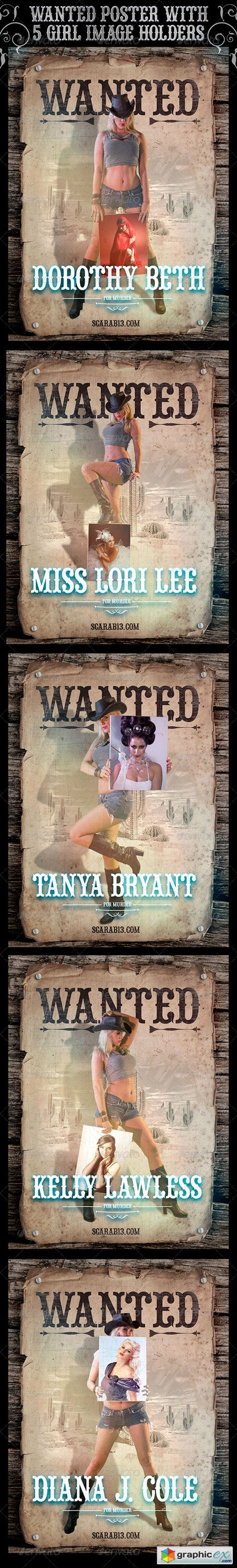 Wanted Poster with 5 Cowgirl ImageHolders