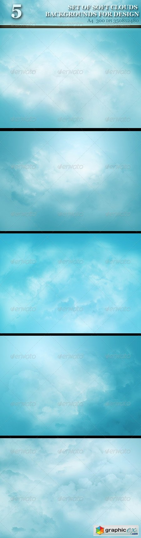 Set of Soft Clouds Backgrounds for Design