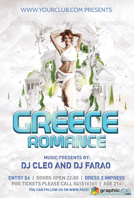 Flyer Template Greece Romance