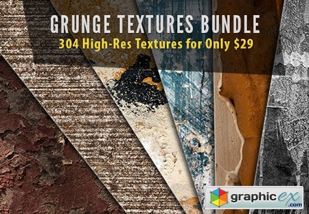 Grunge Textures Bundle 304 High-Res Textures with a Commercial License
