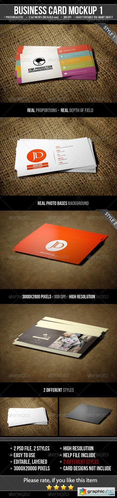 2 Realistic Business Card Mock-Ups