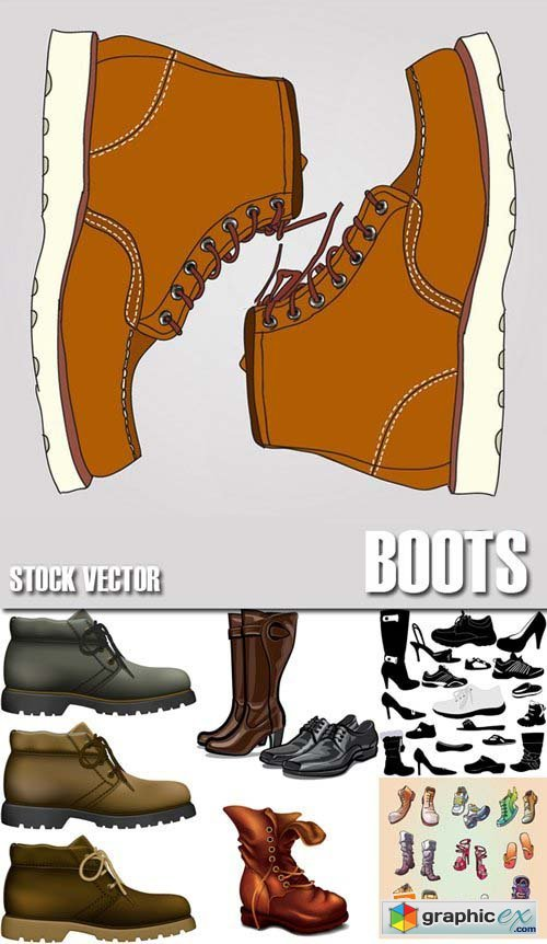 Stock Vectors - Boots, low shoe, sneakers, 25xEPS