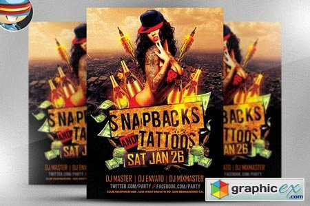 Snapbacks and Tattoos Flyer Template 22512