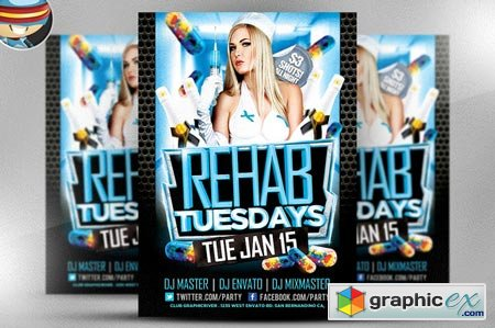 Rehab Tuesdays Flyer Template 22509