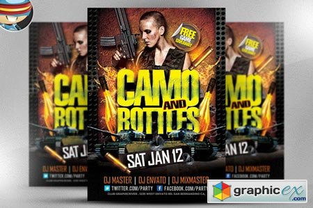 Camo and Bottles Flyer Template 22503