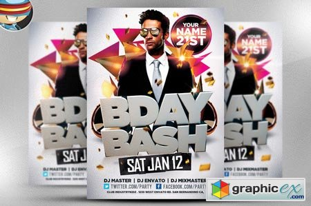 Bday Bash Flyer Template 22483