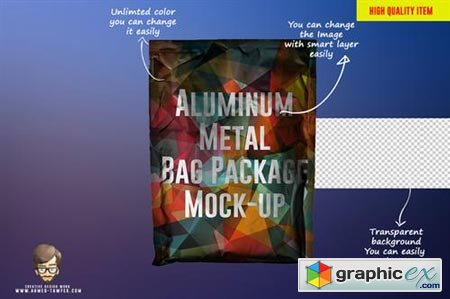 Aluminum Metal Bag Package Mock-up 43687