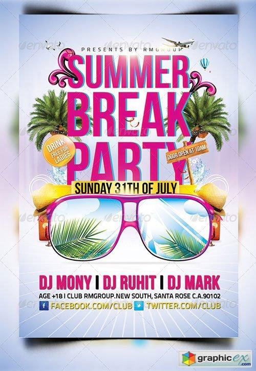 Summer Break Party Flyer Hobitfullring