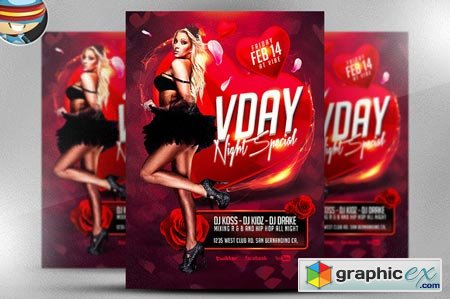 VDAY Night Special Flyer Template 22135