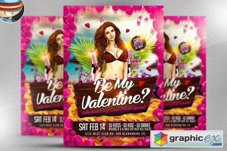 Be My Valentine Party Flyer Template 22136