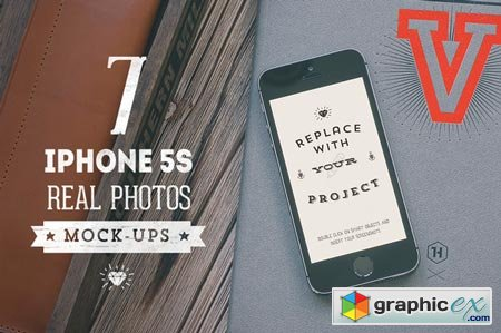 7 Hip iPhone 5S mock-ups Bundle 39425