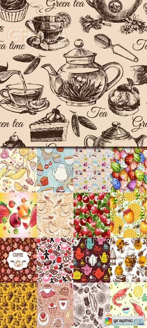 Seamless Food Patterns 25xEPS
