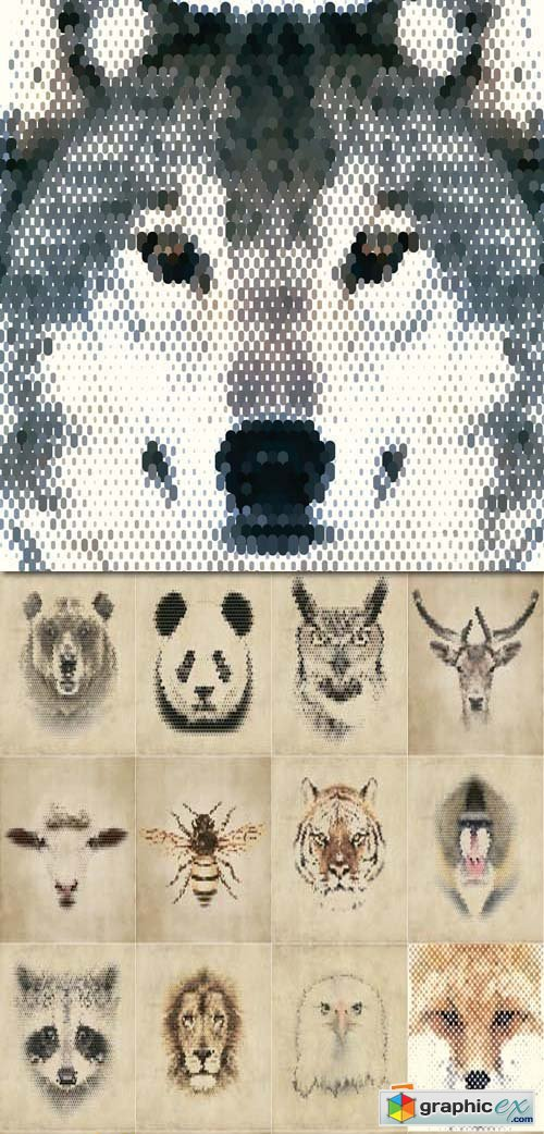 Animals of geometrical shapes and mosaic, 25xEPS