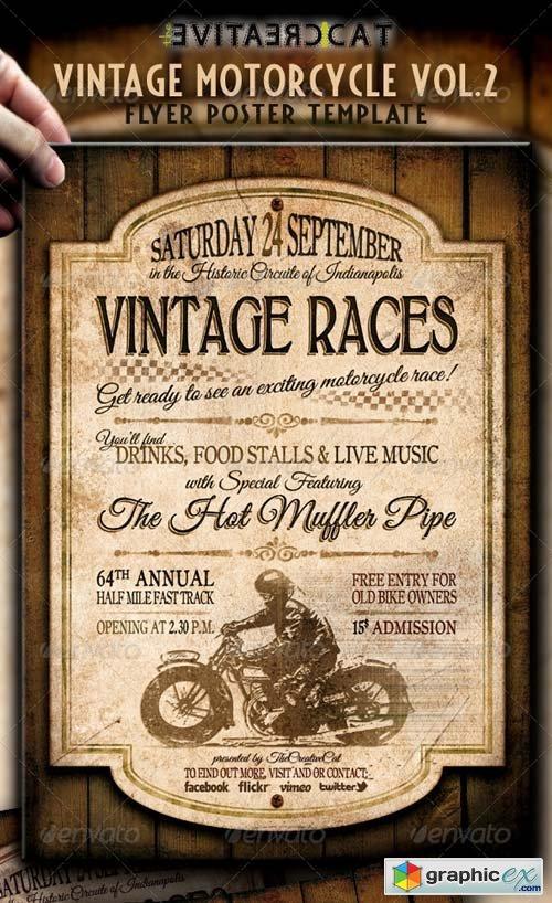 vintage motorcycle flyer poster vol 2 free download vector stock
