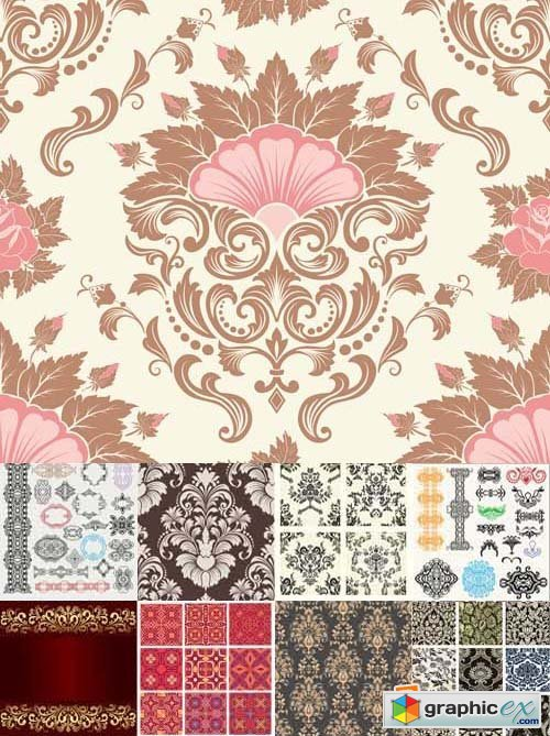 Damask seamless pattern element, 25xEPS