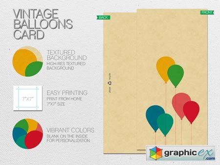Vintage Balloons Card 20965