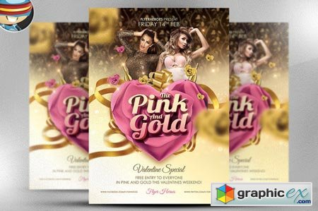 Pink and Gold Valentines PSD 21238
