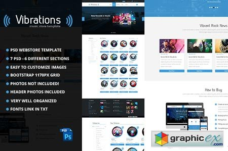 Vibrations Music Store PSD Template 21325
