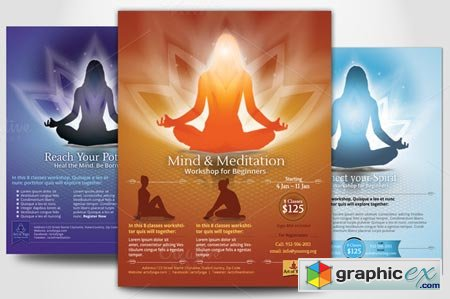 Simple Yoga Meditation Flyers 21408