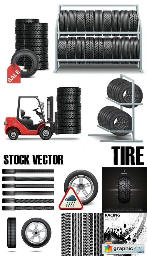 Stock Vectors - Tire, Braking distance, 25xEPS