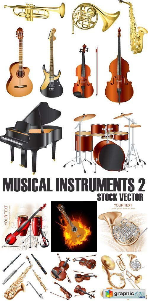 Stock Vectors - Musical Instruments 2, 25xEPS