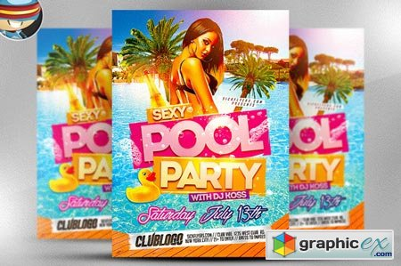Pool Party Flyer Template 45594