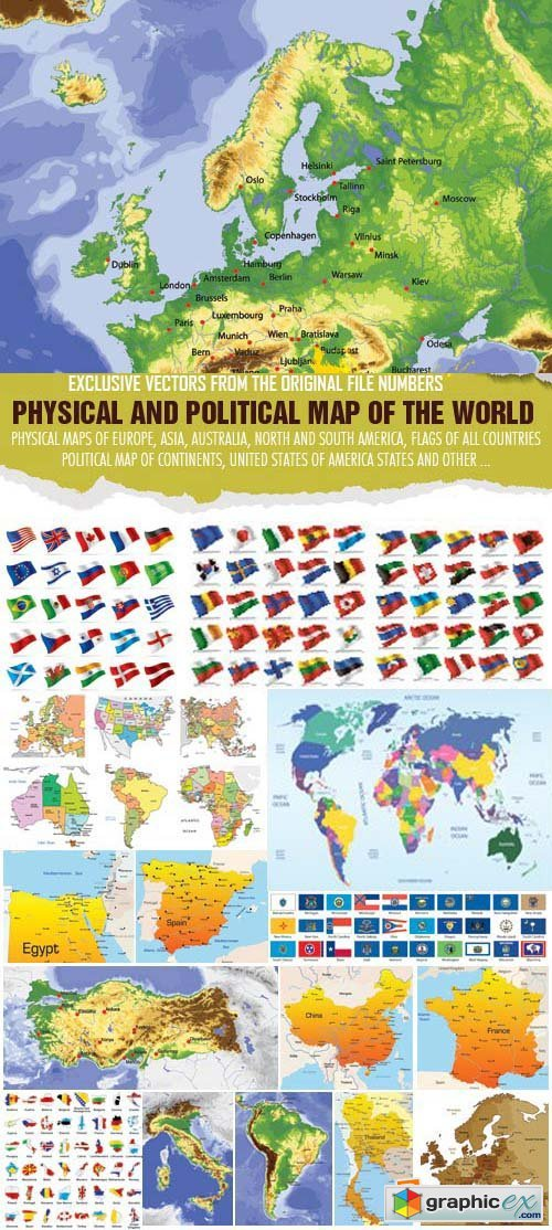 Physical & Political Map of the World 50xEPS