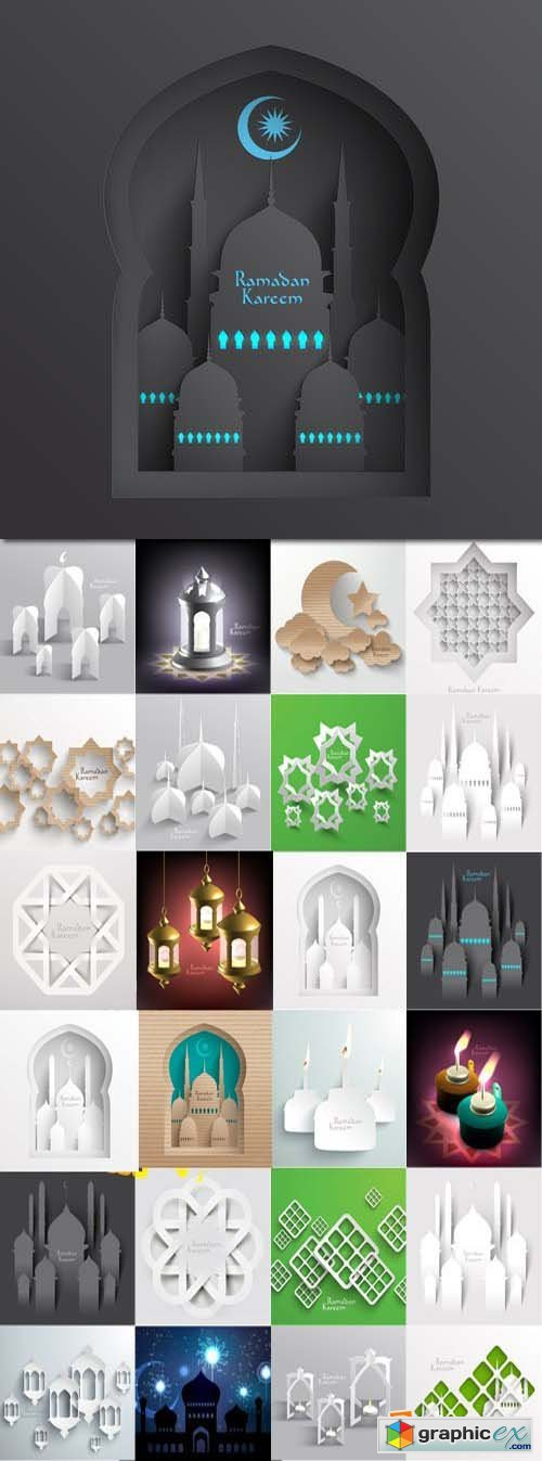 3D muslim cardboard graphics, 25xEPS
