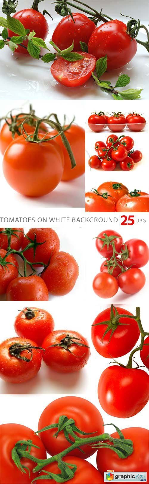 Tomatoes on White Background 25xJPG