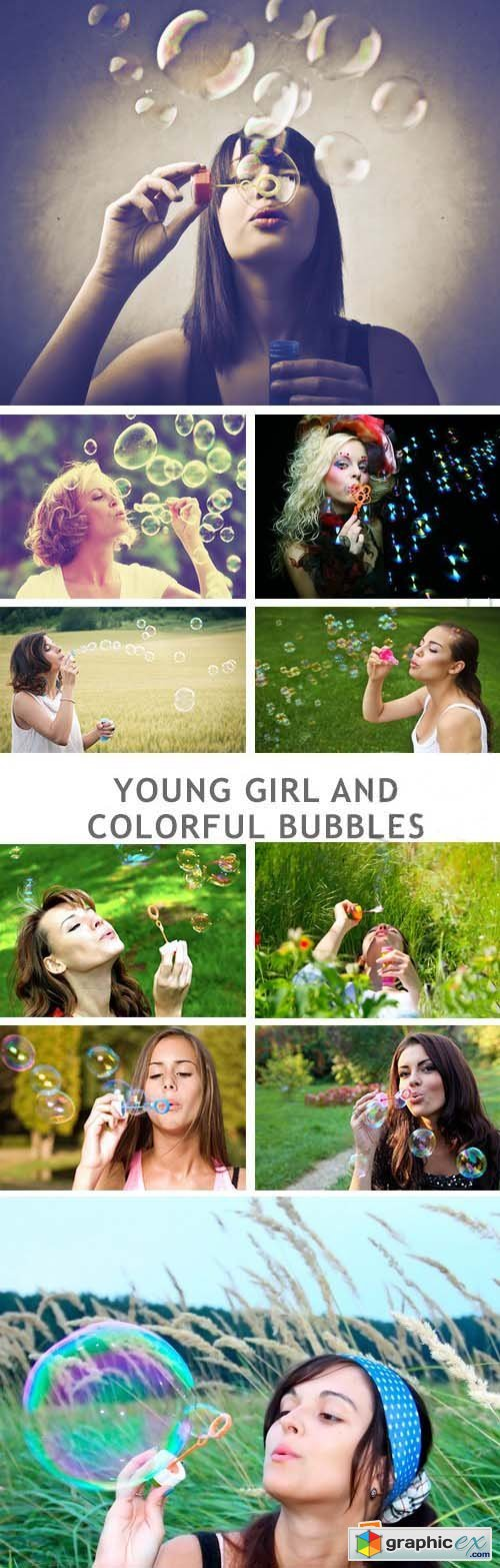 Young Girl And Colorful Bubbles - 27xJPG
