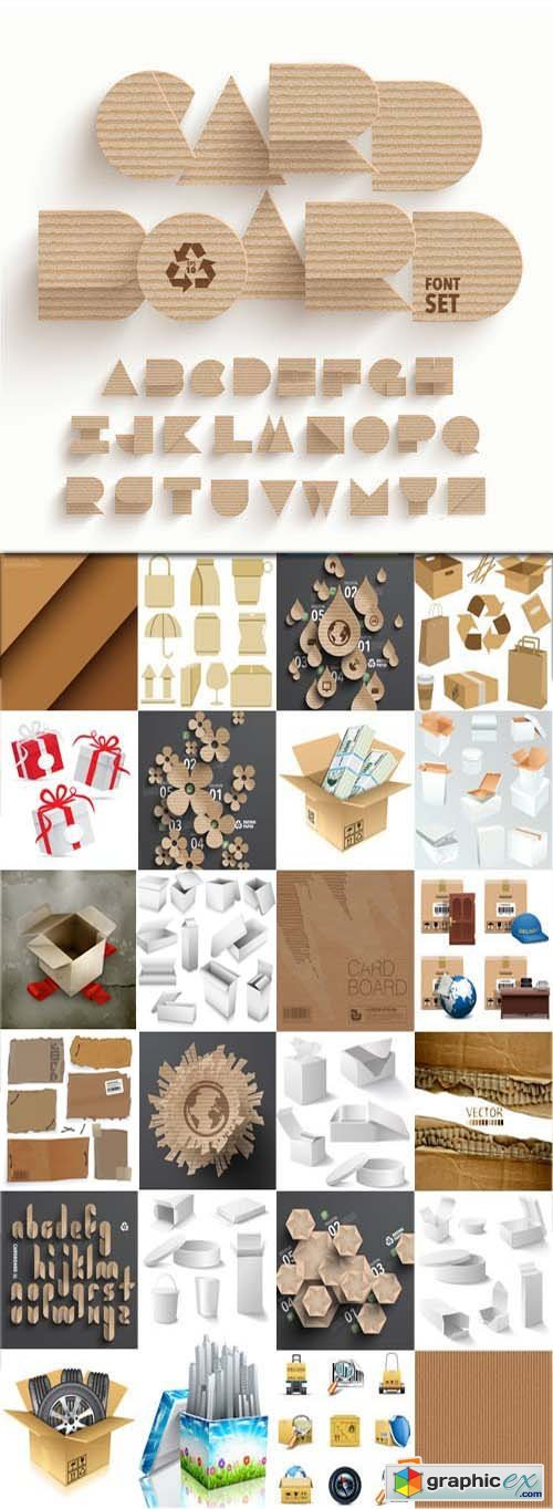 Cardboard texture and elements, 25xEPS