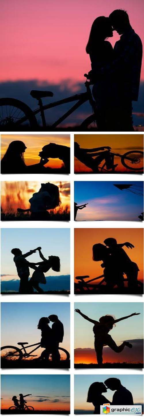 Couple Silhouettes as the Sun Sets 35xJPG