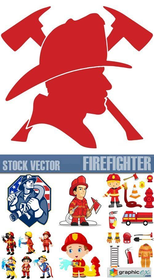 Stock Vectors - Firefighter, fire-fighting equipment, 25xEPS