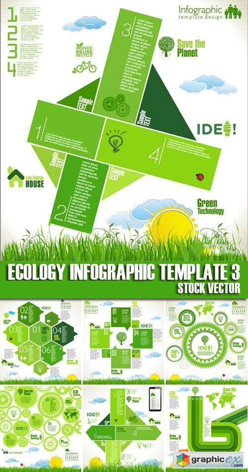Stock Vectors - Ecology infographic template 3, 25xEPS