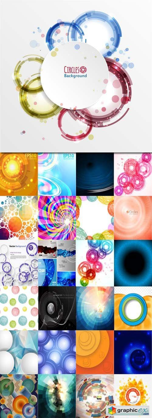 Abstract background with technology circles, 25xEPS
