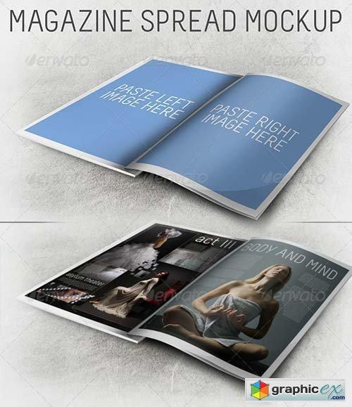 3D Magazine Spread Mockup » Free Download Vector Stock Image