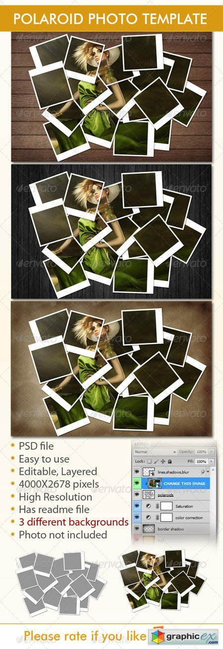 Instant Photo Frames Photo Template