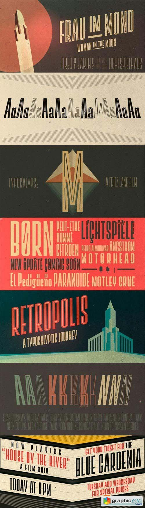 Lichtspielhaus Font Family - 8 Fonts for $89