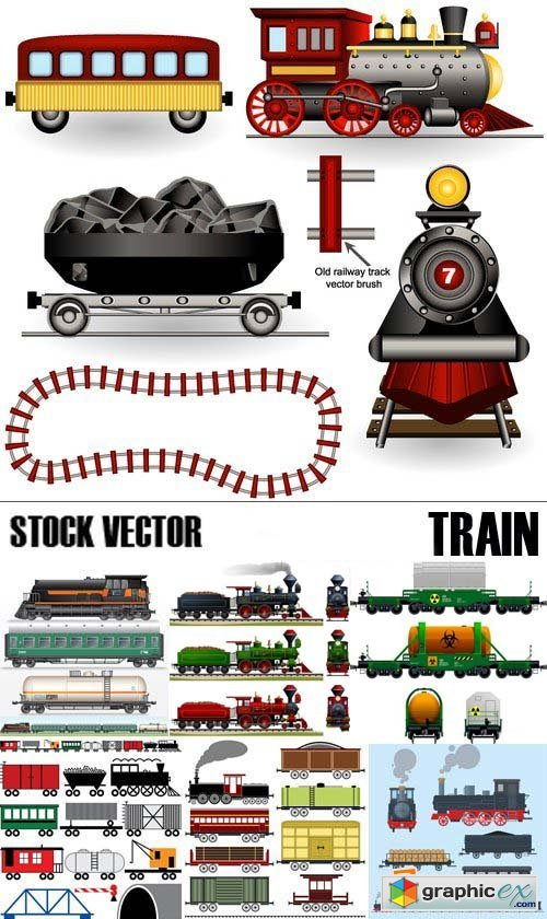 Stock Vectors - Train, 25xEPS