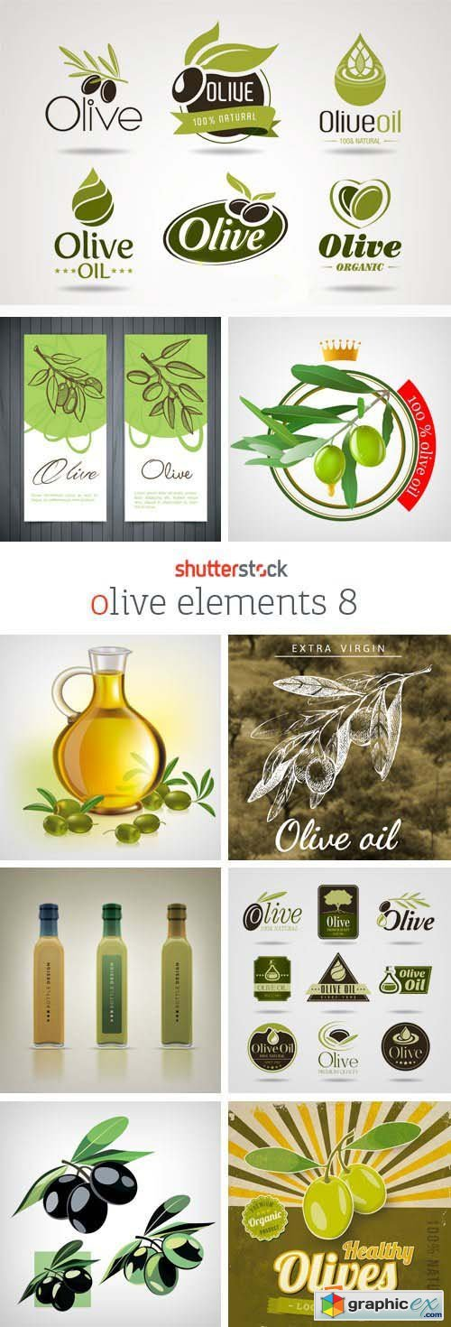 Amazing SS - Collections of Olive Elements 8, 25xEPS